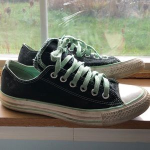 Teal and black converse